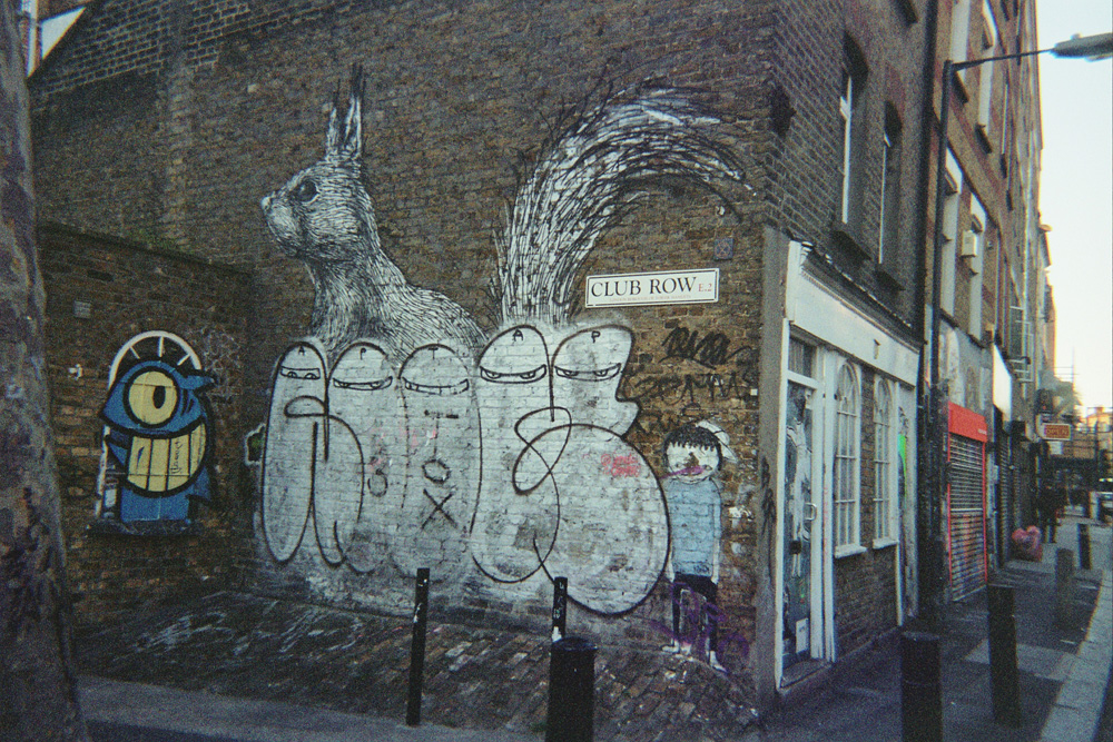 London street art, Erased ROA painting, Club Row E.2