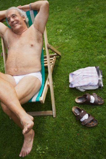 IMAGE BANK FAIL - Man Sitting in Lawn Chair in His Underwear © 2008 Radius Images